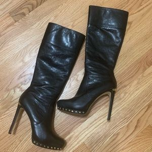 Amazing MK FINE Leather Gold Studded Boots 7.5